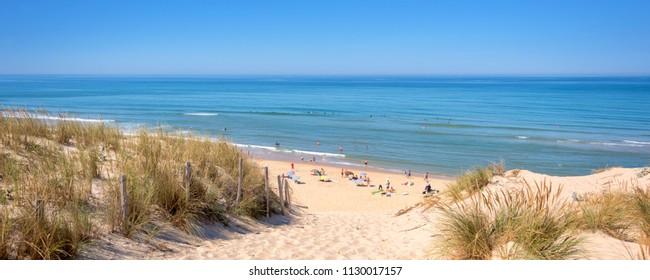Panorama of the dune and the beach of Lacanau, atlantic ocean, France