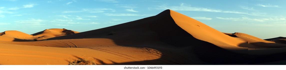 Panorama of dunes in Sahara, Morocco