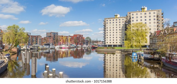 Panorama of the east harbor in Groningen, Netherlands