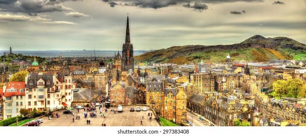 Panorama of Edinburgh from the castle - Scotland