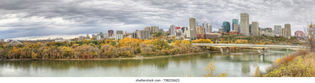 A Panorama of Edmonton, Alberta, Canada with colorful aspen in fall