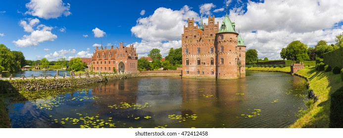 Panorama Of Egeskov Castle, located in the south of the island of Funen, Denmark.