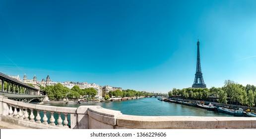 Panorama of Eiffel Tower with Bir Hakeim bridge and The Seine River in Paris, France