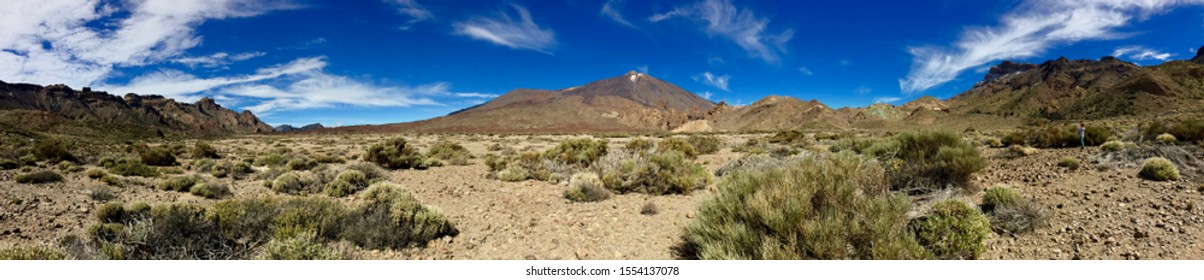 Panorama of El Teide volcano in Teide National Park in Tenerife, Canary Islands, Spain