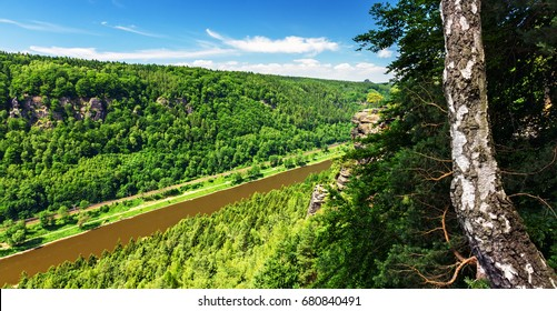 Panorama of of the Elbe river on the border of Germany and the Czech Republic from Belvedere viewpoint