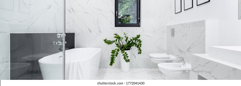 Panorama of elegant bathroom in white marble floor and wall tiles, big and comfortable bathtub, shower, toilet and bidet