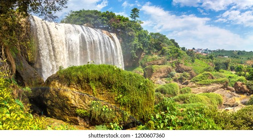 Panorama of Elephant waterfall in Dalat, Vietnam in a summer day