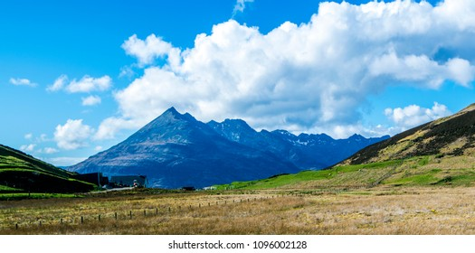 Panorama at Elgol of the famous Black Cuillin Hills on the Isle of Skye in the Highlands of Scotland.