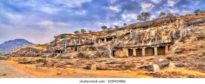 Panorama of Ellora caves 20-24. A UNESCO world heritage site in Maharashtra, India