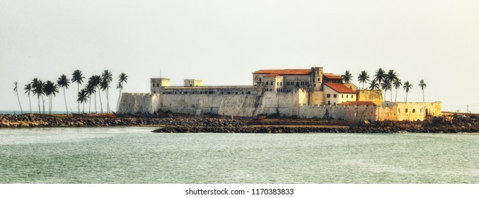 Panorama of Elmina Castle (also called the Castle of St. George) which is located on the Atlantic coast of Ghana west of the capital, Accra. It is a UNESCO World Heritage Site.