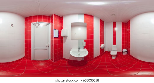 The panorama is in equidistant projection inside the lavatory room.