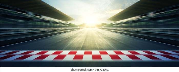 Panorama evening circuit motion blur road