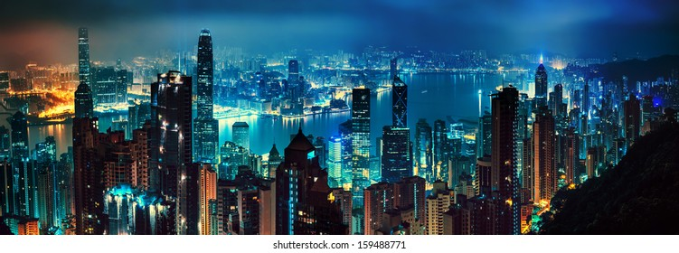 panorama of evening hong kong