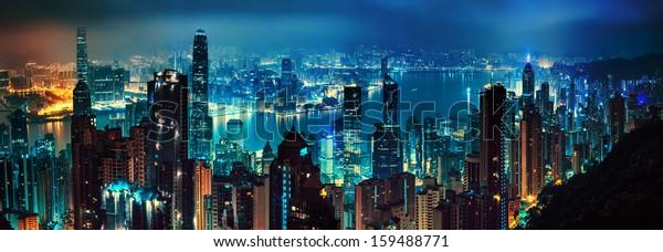 panorama of evening hong kong