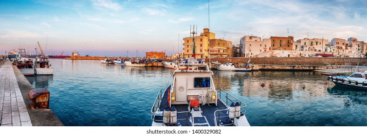 panorama of evening  Monopoli city port, Italy