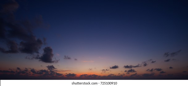 Panorama of the evening sky above the horizon.