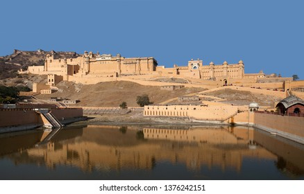Panorama of famous ancient Amer Fort in Rajasthan state, India. Located high on a hill, it is the principal tourist attraction in Jaipur.