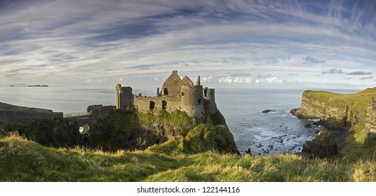 A panorama of the famous Dunluce Castle - a great tourist attraction from County Antrim, Northern Ireland.