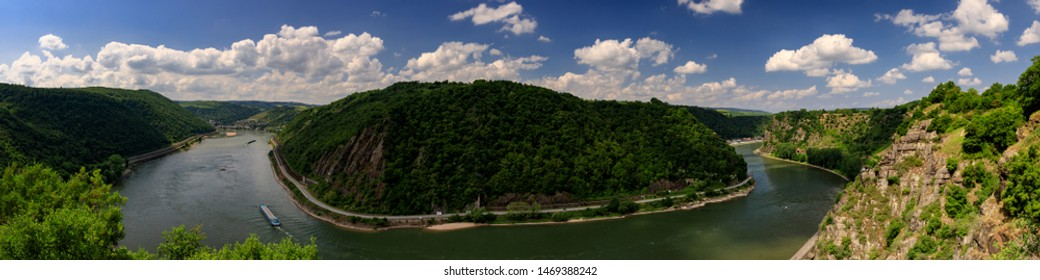 Panorama of the famous Loreley viewpoint, above the middle Rhine valley,  Hesse, Germany