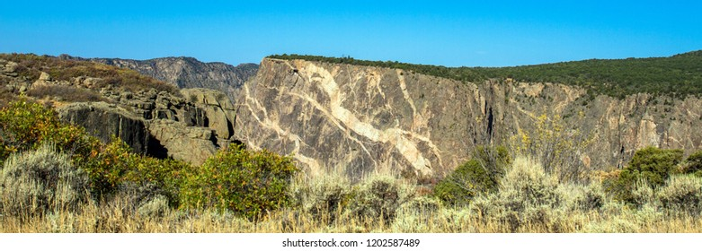 "Panorama of the famous ""painted wall"" on the south rim of Black Canyon of the Gunnison National Park in Colorado"