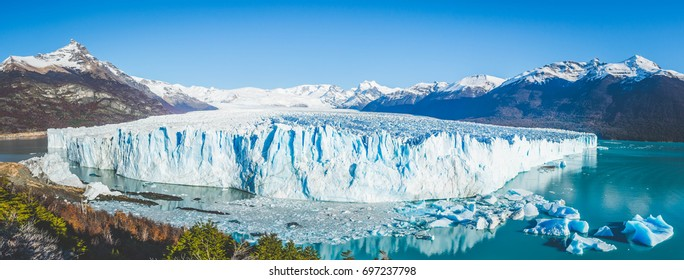 Panorama of the famous Perito Moreno glacier in Patagonia, Argentina
