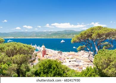 panorama of famous resort Saint Tropez on cote d'azur, south France