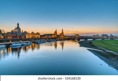 Panorama of the famous skyline of Dresden with the river Elbe after sunset