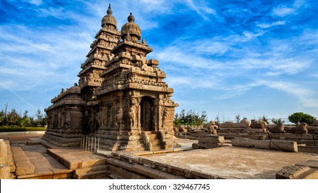 Panorama of famous Tamil Nadu landmark - Shore temple, world  heritage site in  Mahabalipuram, Tamil Nadu, India