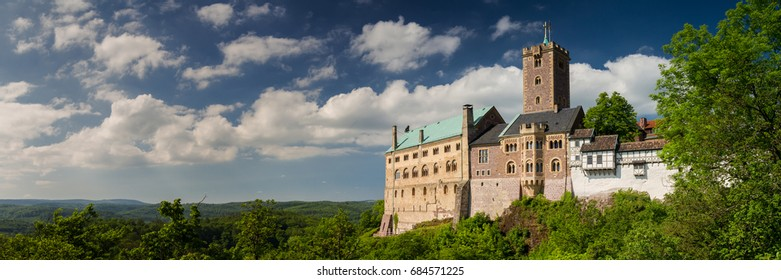 Panorama of the famous Wartburg - a world heritage site, Thuringia, Germany