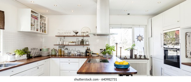 panorama of a fancy kitchen