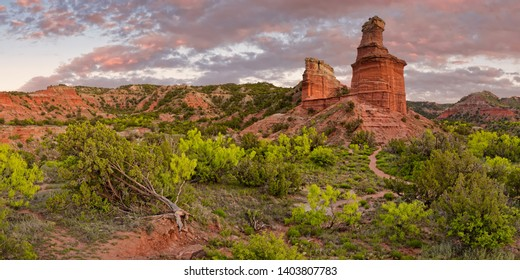 Panorama of Fiery Sunset Over Lighthouse Rock - Palo Duro Canyon State Park - Texas Panhandle