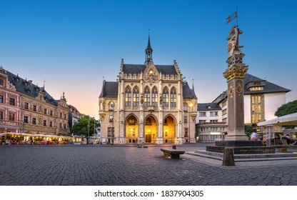 Panorama of Fischmarkt square with historic Town Hall in Erfurt, Germany