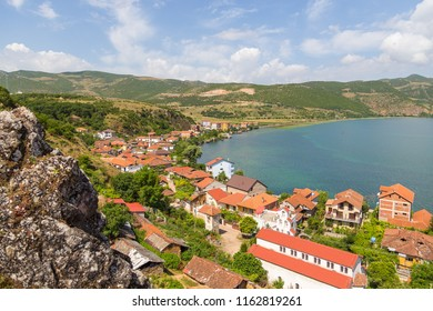 Panorama of the fishing and leisure village of Lin. The village located above the bay of the Ohrid lake in Albania.