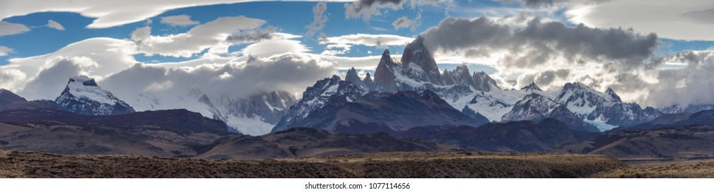 Panorama of the Fitz Roy mountain range, Patagonia, Argentina