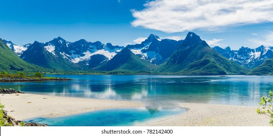 Panorama Of Fjord / Lake And Mountain With Snow on the Lofoten Islands, Norway