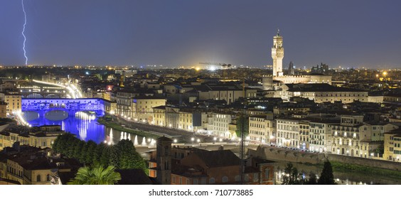 panorama with flash above Florence in Italy