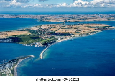 Panorama flight over the North of Germany, Schleswig-Holstein and the island Fehmarn