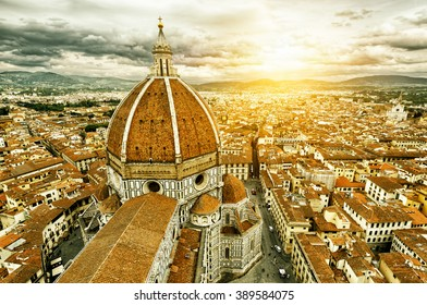 Panorama of Florence from above in sun light, Italy. Basilica di Santa Maria del Fiore in the foreground. It is one of the main landmarks of Florence. Sunny skyline of Florence.
