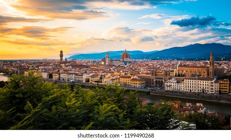 panorama of florence during colourfull sunset