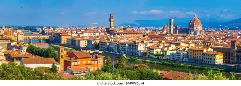 Panorama of Florence, Italy. Beautiful view of Florence. Panoramic view on Ponte Vecchio, Palazzo Vecchio and Cathedral of Santa Maria del Fiore Duomo