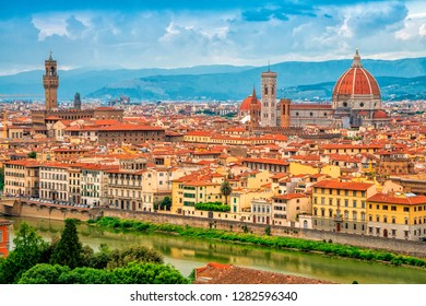 Panorama of Florence and Saint Mary of the Flower in Florence, Tuscany, Italy. Florence cityscape. Florence architecture and landmark.