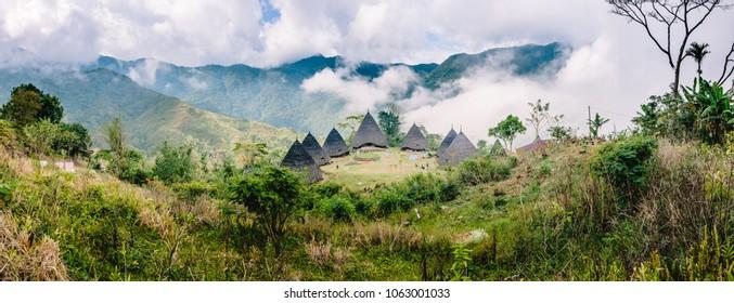 Panorama Foggy Clouds Wae Rebo Village Flores