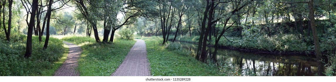 Panorama of footpaths near the Yauza river in Moscow, Russia