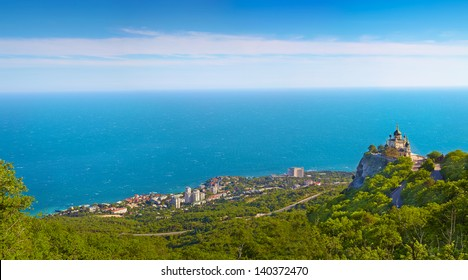 Panorama of Foros. Foros Church. View from the top.Crimea, Ukraine.