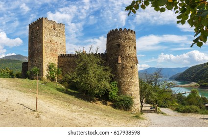 Panorama of the fortress and church complex Ananuri. Georgia