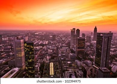 Panorama of Frankfurt am Main (Germany) at sunset