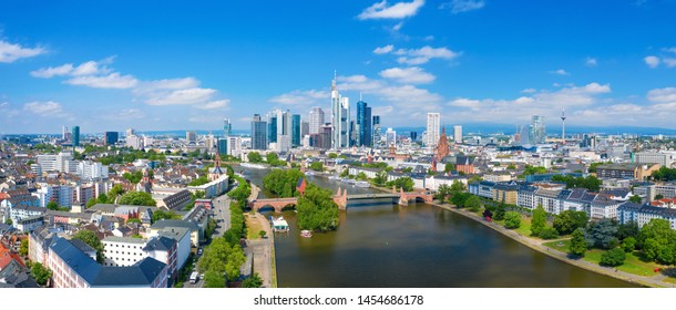 Panorama of Frankfurt am Main skyline on a sunny day, Germany