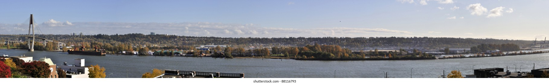 panorama of Fraser River in the autumn