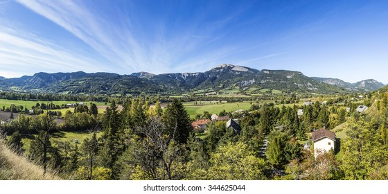 panorama of the French Alpes at Seyne les Alps in summer