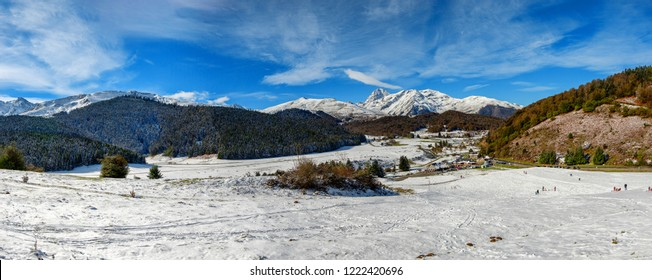 a panorama of french pyrenees mountains with Pic du Midi de Bigorre in background